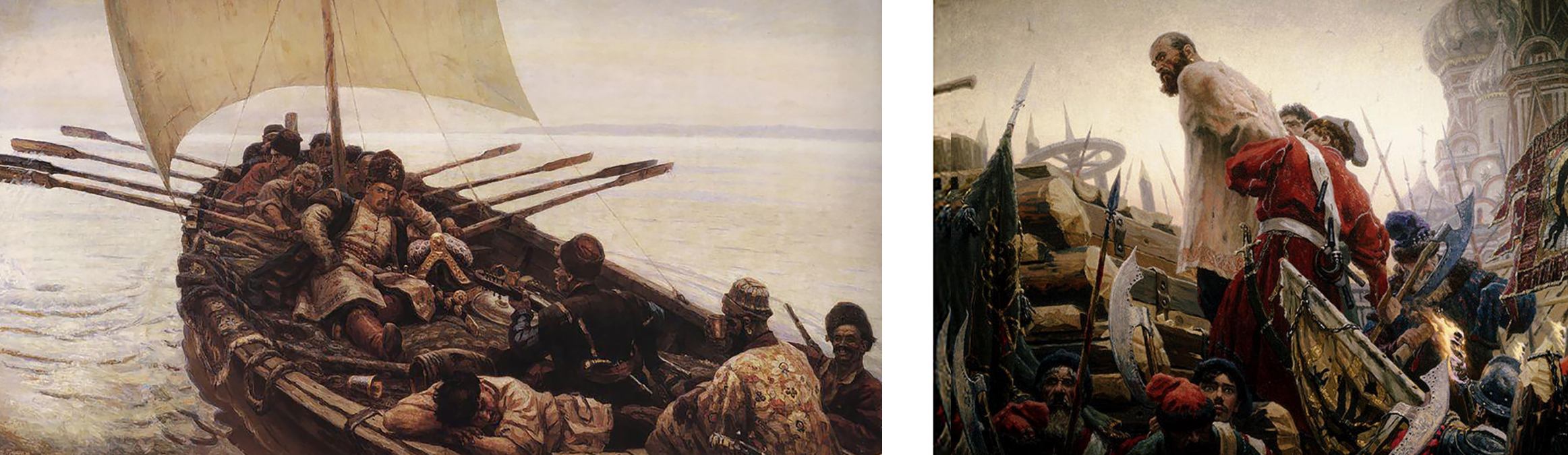 "[left] ""Stepan Razin Sailing in the Caspian Sea"" and [right] ""The Execution of Stepan"" both painted by Vasily Surikov in 1906"