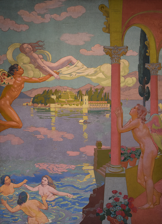 """Panel 2: """"Zephyr Transporting Psyche to the Island of Delight,"""" 1907, oil on canvas, Ivan Morozov Collection, State Hermitage Museum. St. Petersburg"""