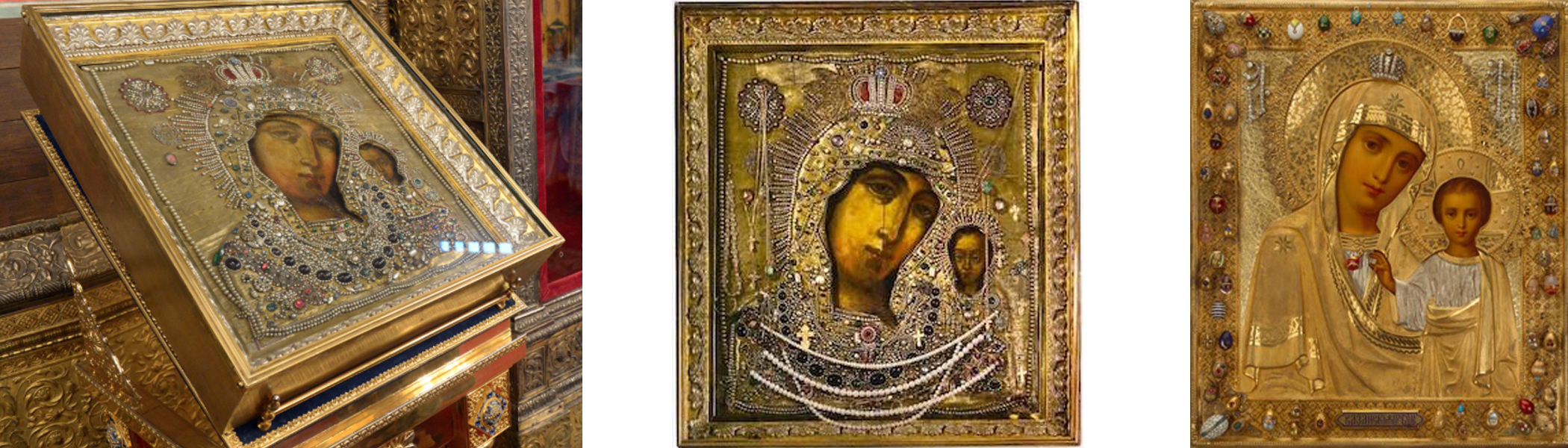 Three versions of the icon Our Lady of Kazan