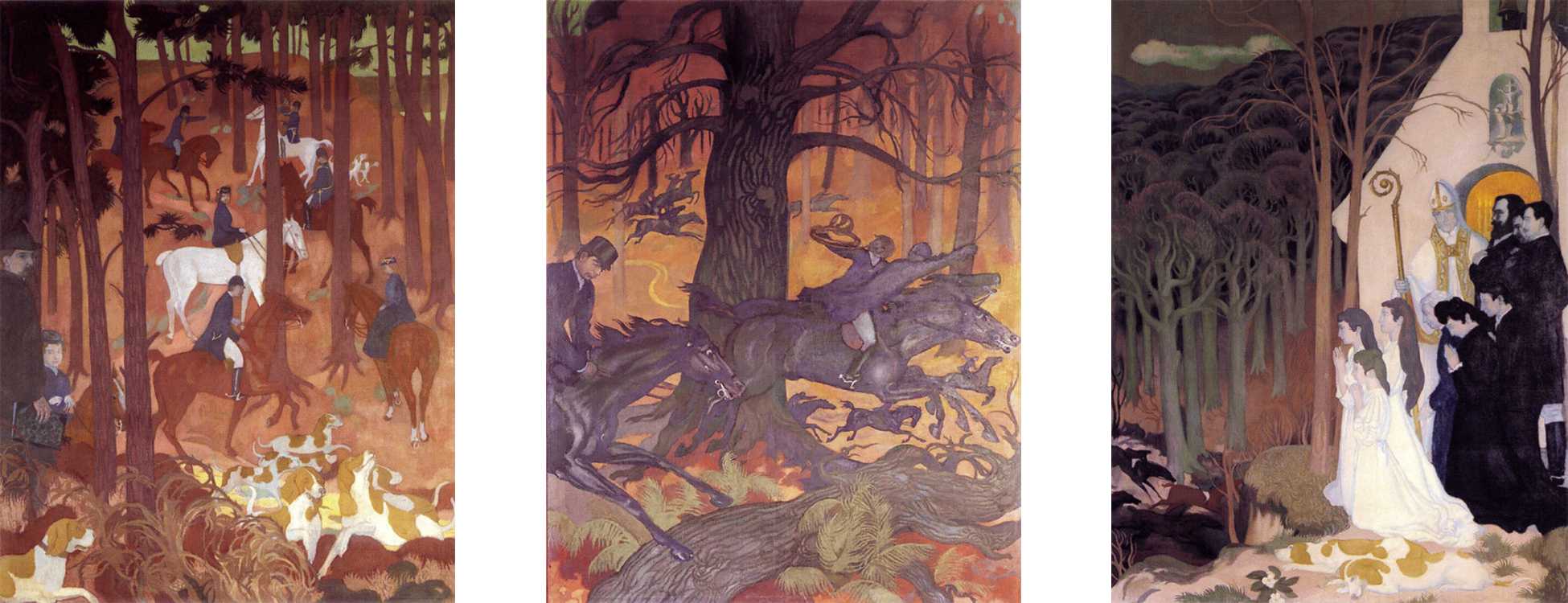 """""""The Legend of Saint Hubert,"""" 1897, each panel is 88.58"""" tall x 68.89"""" wide, oil on canvas, collection of Departmental Museum of Maurice Denis, Saint-Germain-en-Laye, France  From left to right: 1. Departure, 2. The Release of the Dogs, 3. The Good Go, 4."""