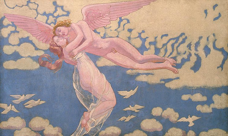 """Panel 7: """"Eros Carrying Psyche Up to Heaven,"""" 1907, oil on canvas, Ivan Morozov Collection, State Hermitage Museum. St. Petersburg"""