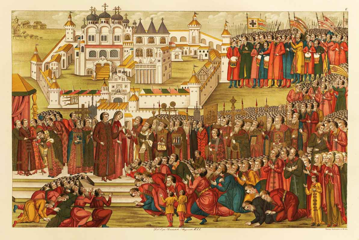 Depiction of Mikhail Romanov being offered the throne outside the Ipatievsky Monastery (1673) in Poland