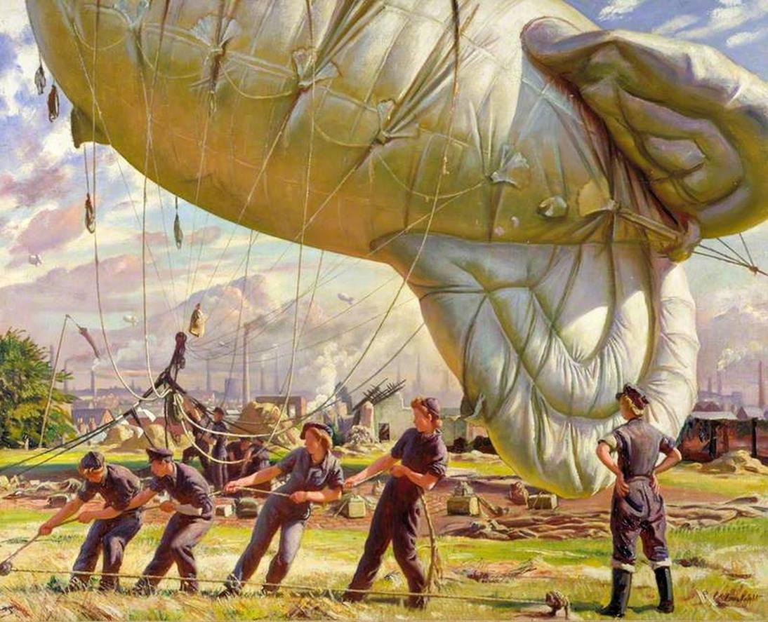 """Laura Knight, """"A Balloon Site, Coventry"""" (1943), oil on canvas, 40.35"""" x 50"""", Imperial War Museums, United Kingdom, © photo IWM (Imperial War Museums)"""