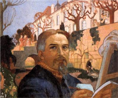 """""""Self-Portrait with his Family in Front of Their House,"""" 1916, oil on canvas"""