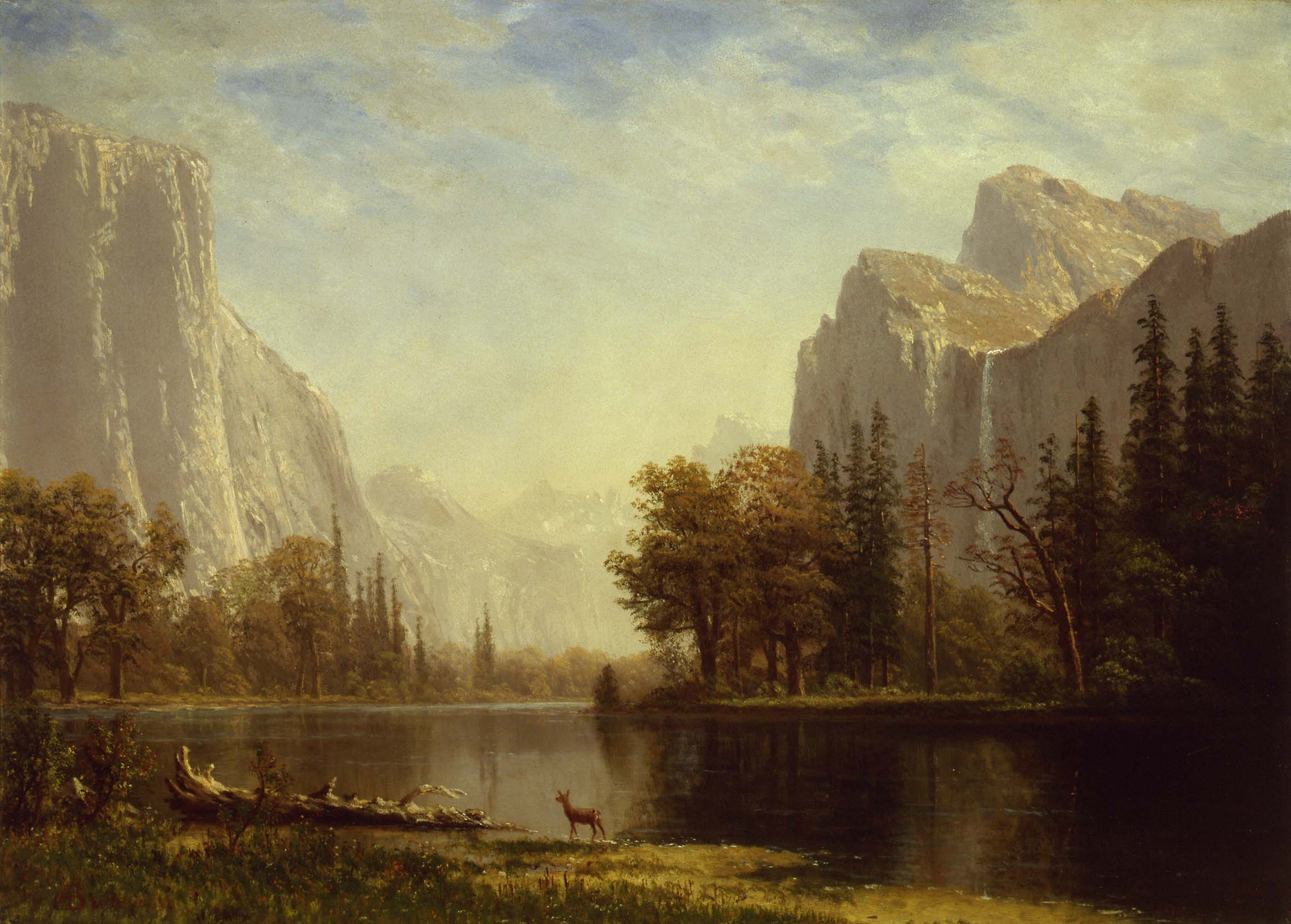 """Albert Bierstadt (American, b. Germany, 1830-1902) """"Yosemite Valley,"""" ca. 1865, oil on canvas, 21 3/4 x 30 in., The Hyde Collection, Glens Falls, New York, 1976.1. Photograph: mclaughlinphoto.com"""
