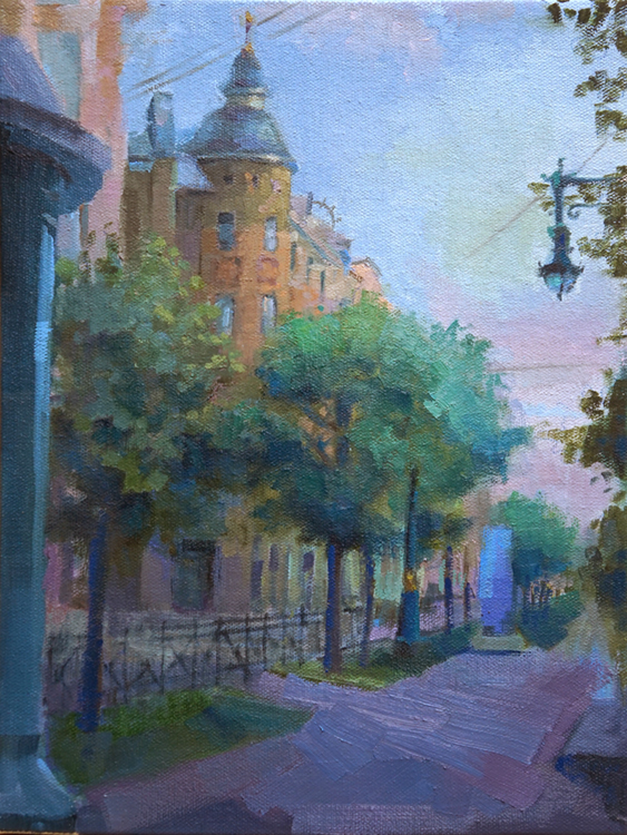 oil painting of street in golden triangle in St. Petersburg russia