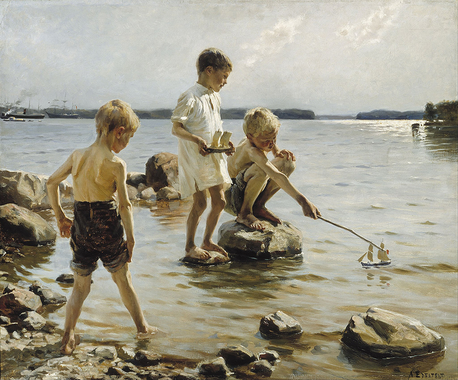 "Albert Edelfelt, ""Boys Playing on the Shore"" (1884) oil on canvas, Ahlstrom Collection, purchased 1930"
