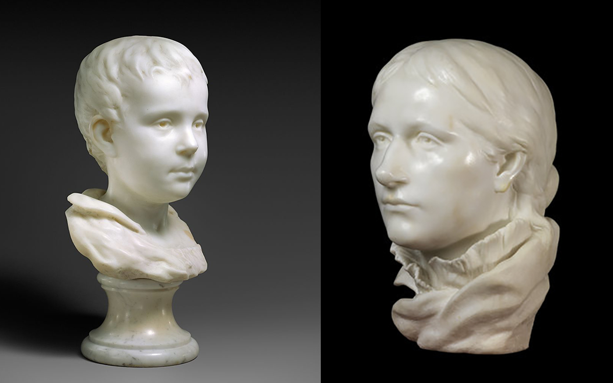 (left) Marble bust of Émile (1877-78), the Metropolitan Museum of Art, New York; and  (right) Mette Gauguin, (1877-78), The Courtauld Institute of Art, London