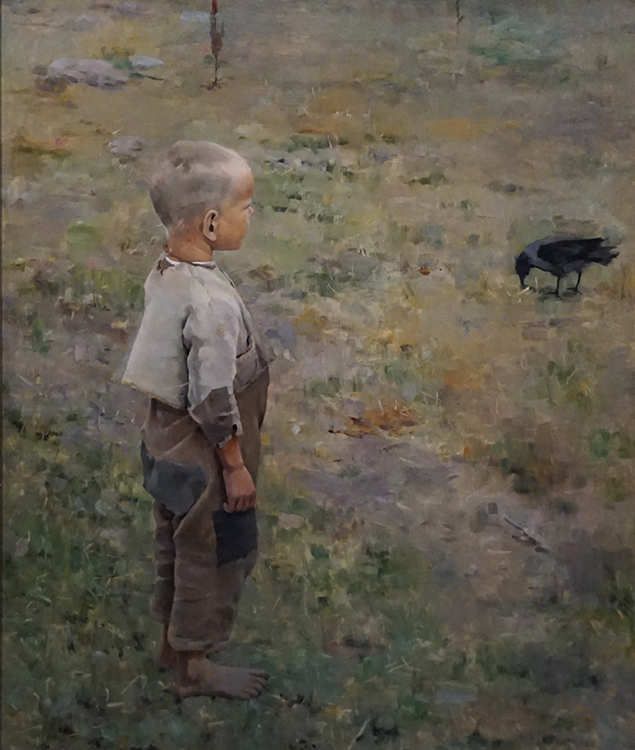 "Akseli Gallen-Kallela, ""Boy with a Crow"" (1884) oil on canvas, purchased 1911"