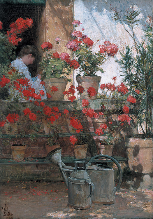 """Childe Hassam (American, 1859-1935), """"Geraniums,"""" 1888-89, oil on canvas, 18 1/4 x 12 15/16 in. The Hyde Collection, Glens Falls, New York, Bequest of Charlotte Pruyn Hyde, 1971.22. Photograph: mclaughlinphoto.com"""