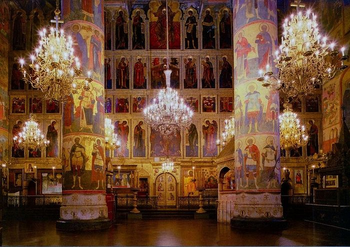 Inside the Assumption Cathedral in th Kremlin, Moscow