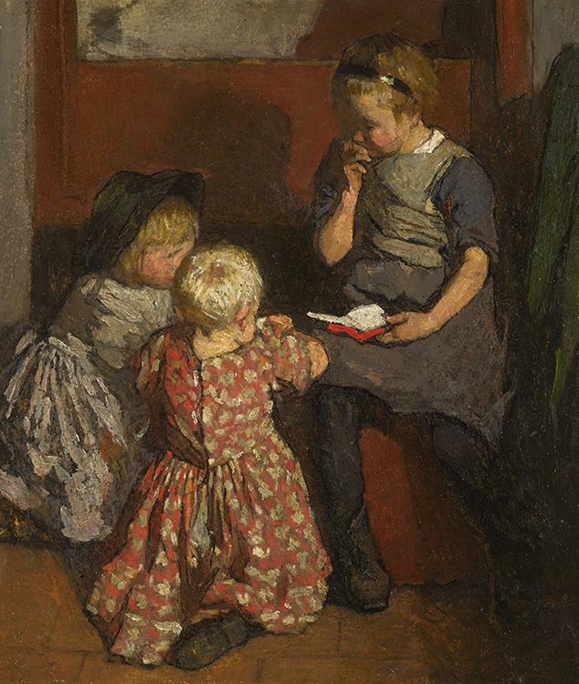 """Laura Knight, """"Interior with Children Reading"""" (ca. 1906-07), oil on canvas, 13.75"""" x 11.25"""", private collection"""