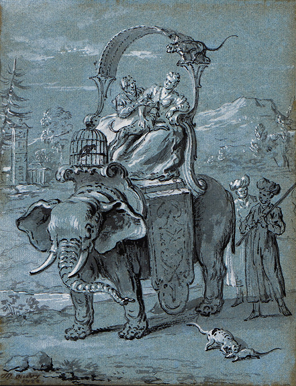 """Jean-Baptiste Oudry, """"The Rat and the Elephant,"""" 1732"""