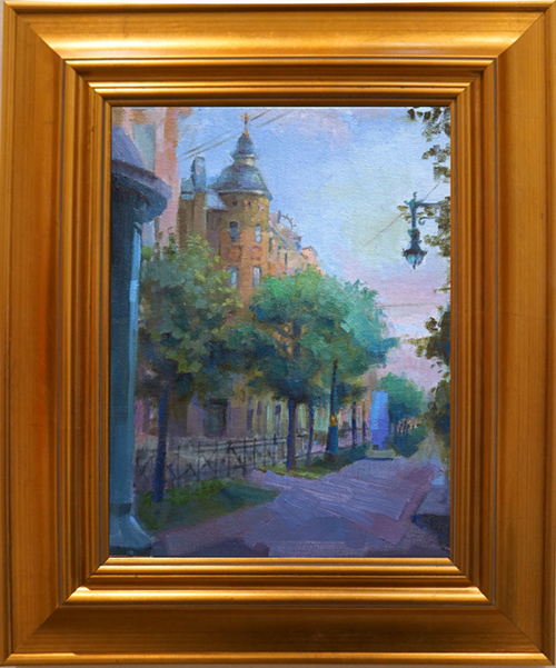 oil painting of Boloshaya Street, St. Petersburg, Russia