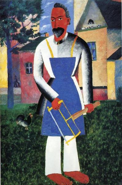 "Malevich, ""Man with а Saw,"" date unknown, oil on wood, Leningrad, State Russian Museum"