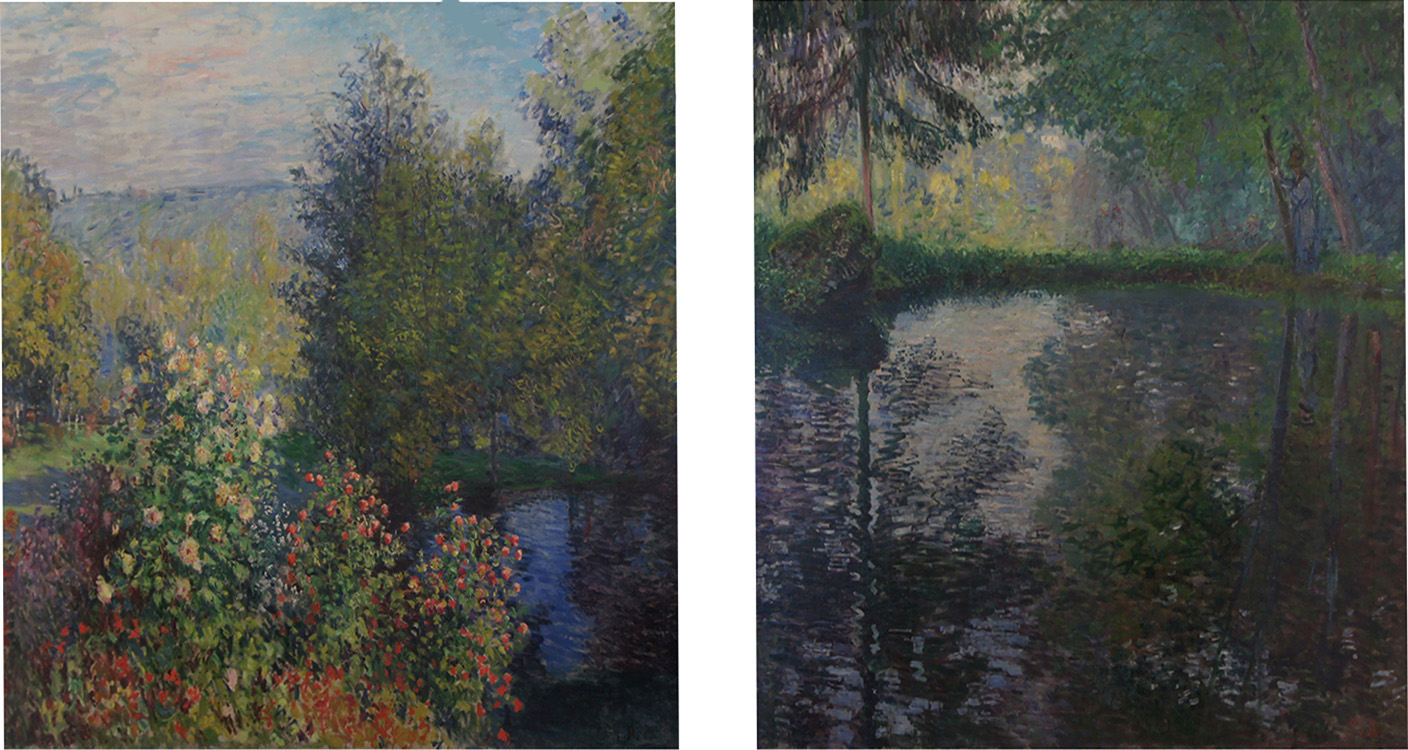 "Claude Monet, (right) ""Pond at Montgeron,"" (left) ""Corner of the Garden at Montgeron,"" 1876, Ivan Morozov Collection, State Hermitage Museum, St. Petersburg"