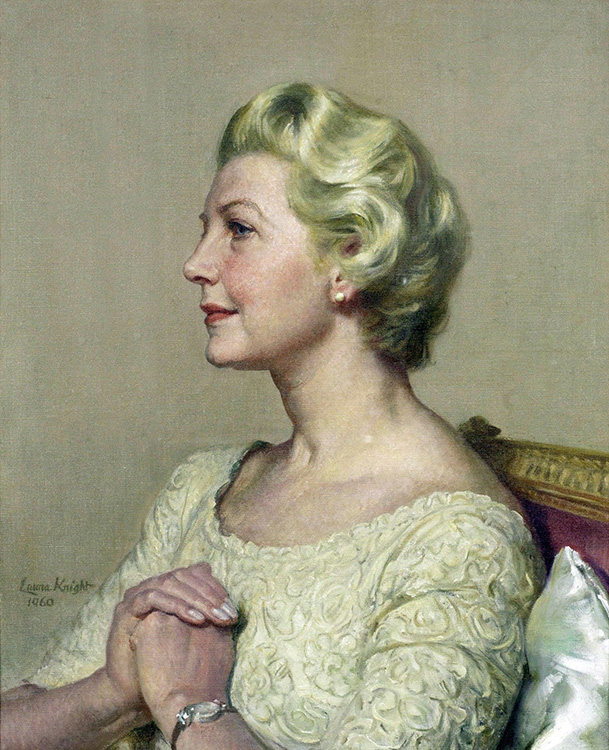 """Laura Knight, """"Portrait of Lady Hayter"""" (1960), oil on canvas, 26.5"""" x 22"""", private collection"""
