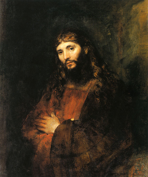 """Rembrandt van Rijn (Dutch, 1606-1669), """"Christ with Arms Folded,"""" ca. 1657-1661, oil on canvas, 43 x 35 1/2 in. The Hyde Collection, Glens Falls, New York,  The Hyde Collection Trust, 1971.37. Photograph: mclaughlinphoto.com"""