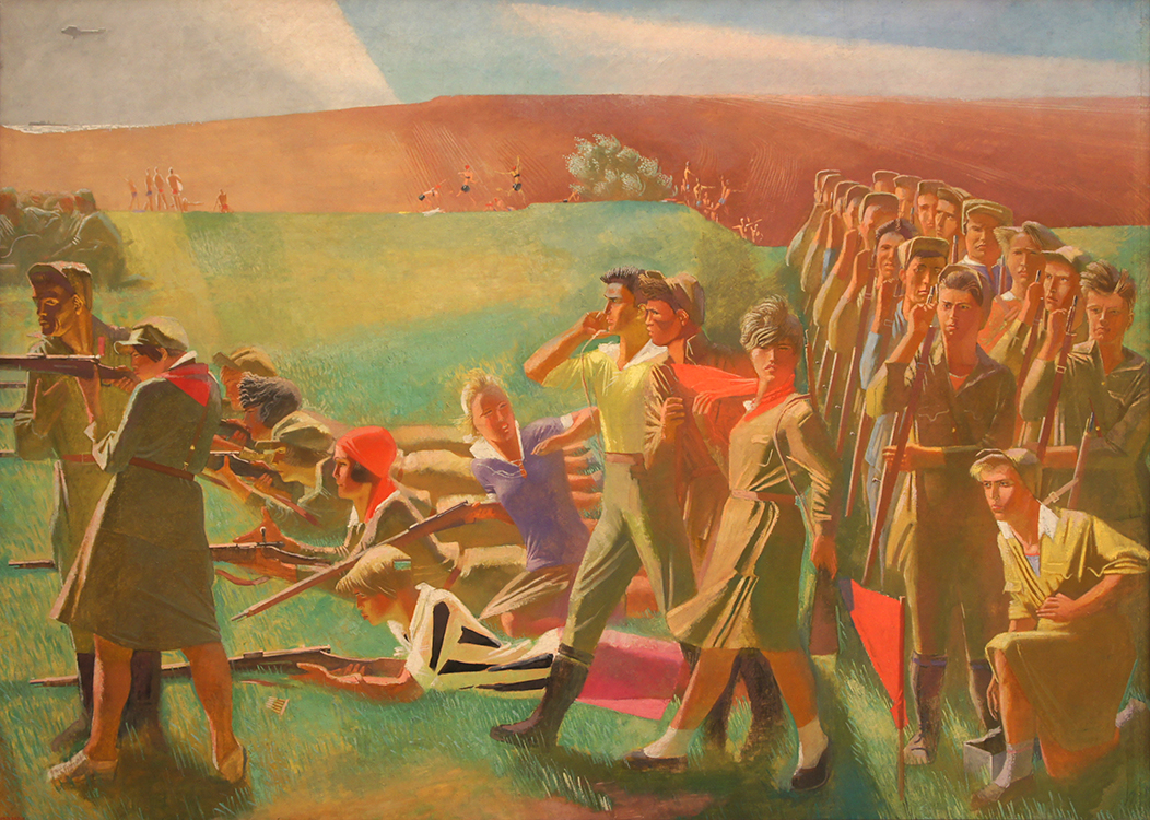 "Alexander Samokhvalov, ""Militarized Komsomol,"" 1932-33, oil and tempera on canvas​"