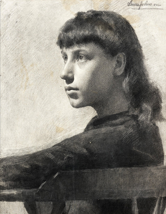 """Study of a Girl, s.d., charcoal, 19.5"""" x 15.5"""", private collection, © photo Bonhams"""