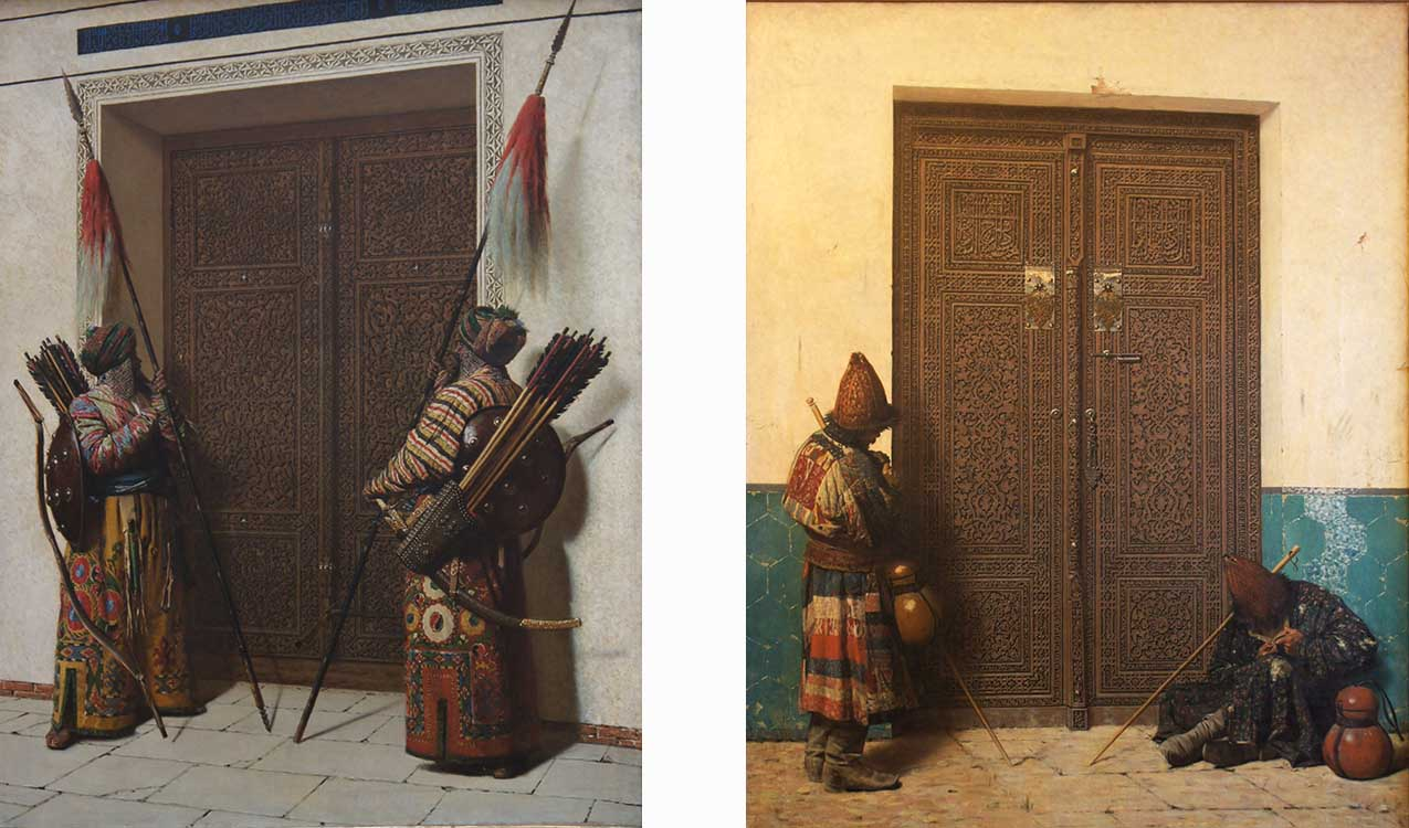 "[Left] ""Tamerian's Doors,"" 1872, oil on canvas and [Right] ""At the Entrance to the Mosque,"" 1873, oil on canvas."