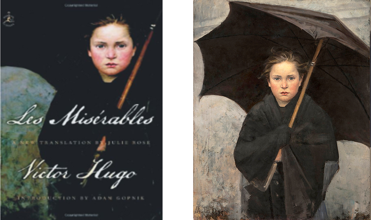 """A portion of Marie's painting: """"Le Parapluie (The Umbrella)"""" (1883), oil on canvas, on the cover of a recent edition of Les Misérables. Original (right) courtesy of the State Russian Museum, St. Petersburg, Russia."""