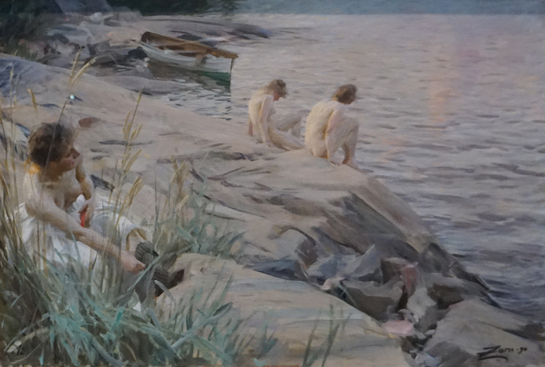 "Anders Zorn, ""Girls Bathing in the Open Air"" (1890) oil on canvas, state deposit 1898"