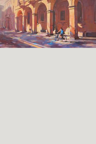 """Alleyway of Arches acrylic on canvas, black floater frame, 18"""" x 36"""""""