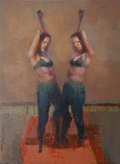 contemporary figurative oil painting of women