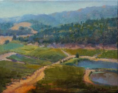 oil painting of Kunde Winery in Napa Valley, CA