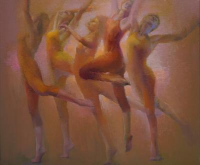 figurative oil painting of dancers by Cathy Locke