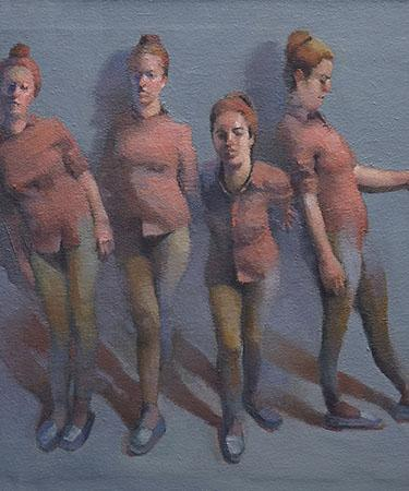 Original figurative fine art - Four Against the Wall by Cathy Locke