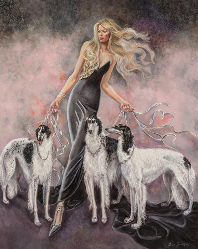 Babs With Three Borzois by Barbara Tyler Ahlfield