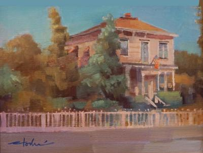 oil painting of Honor Mansion, Healdsburg, CA