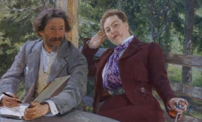 "Ilya Repin, ""Double Portrait of Natalia Nordmann and Ilya Repin"" (1903) oil on canvas, bequest 1920"
