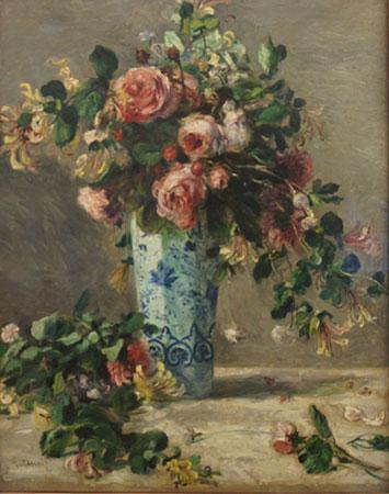 Painting of flowers in a vase